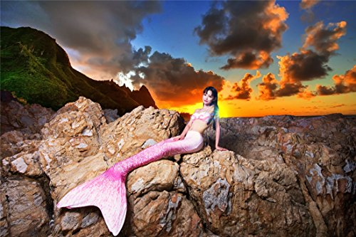 Kpblis174; Mermaid Tails Costume for Swimming,High Flexibility Pink Mermaid Swimsuit for Adults Includes Bikini ()