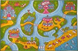 KC CUBS Playtime Collection Girls Road Map Educational Area Rug (5' 0'' x 6' 6'')