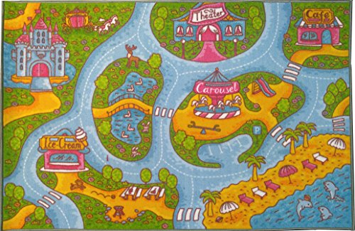 KC CUBS Playtime Collection Girls Road Map Educational Learning & Game Area Rug Carpet for Kids and Children Bedrooms and Playroom (3' 3