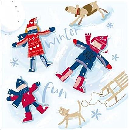 Pack of 5 Winter Fun ChildLine Charity Christmas Cards Xmas Card Packs: Amazon.es: Oficina y papelería