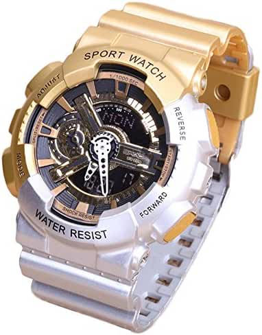 Multi-Function Fashionable Outdoor Waterproof Sport Kids Watch For Boys Girls Wrist Watches Gold+Silver