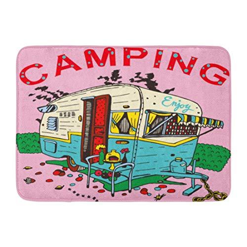 FaceBB Doormat Bath Rug Outdoor Mats Red Camper Camping Trailer Retro Travel Vintage Adventure Camp Car Bathroom Decor Rugs 15.7