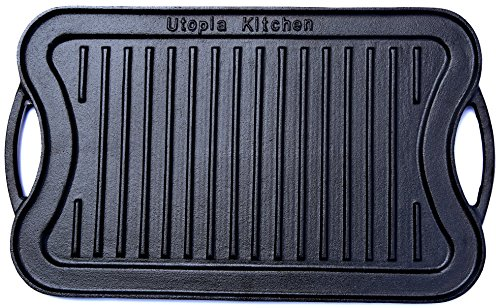 Cast Iron Reversible Grill Griddle (New Design) 17 x 10 inches by Utopia Kitchen