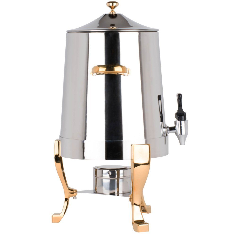 Coffee Chafer Urn with Gold Accents - 3 Gallon,Stainless Steel 48 Cup