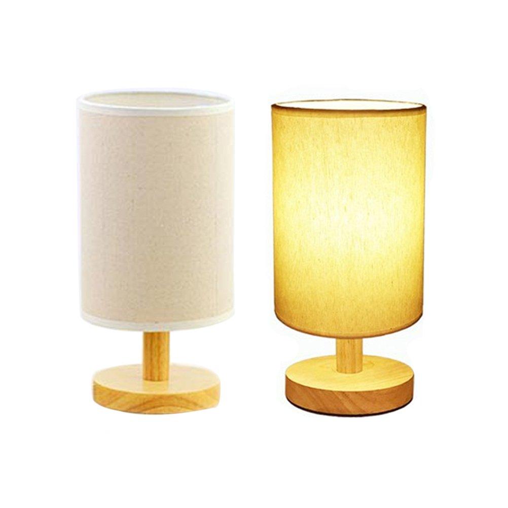 LEDMOMO Nachttischlampe LED Nachttischlampe E27 3W aus Holz einfach mit Stoffschirm EU Spina warmes Licht