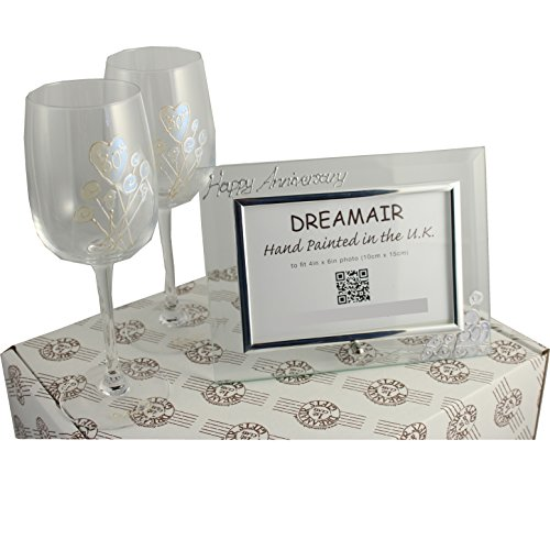 30th Pearl (30th Pearl Wedding Anniversary Wine Glasses and Photo Frame Gift Set)