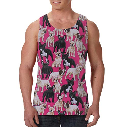 Athletic Sleeveless Vest Undershirts for Youth & Adult Men Boys Sweatproof Workout & Training Activewear Sweat Shirt Vest Comfort Soft Fit Shirts -French Bulldogs Dogs Pets Puppy - French Bulldog Adult Sweatshirt