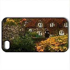 Home - Case Cover for iPhone 4 and 4s (Houses Series, Watercolor style, Black)