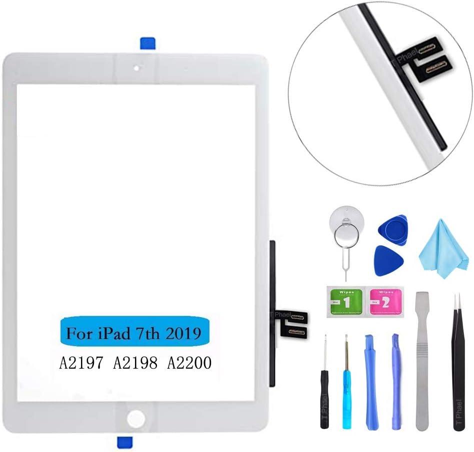 Tefir Negro Kit de reparaci/ón de digitalizador para iPad 10.2 2019 iPad 7 7th Gen A2197 A2198 A2200 Reemplazo de digitalizador de Pantalla t/áctil Herramientas sin bot/ón de Inicio