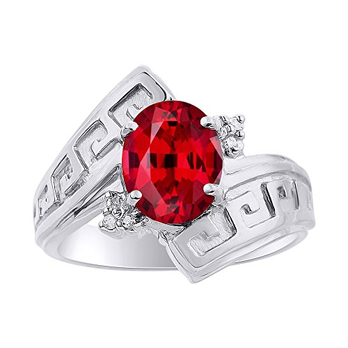 Diamond & Ruby Ring Set In Sterling Silver - Greek Key Design - Color Stone Birthstone ()