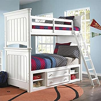 Samuel Lawrence Furniture SummerTime Bunk Bed In White   Twin Over Full