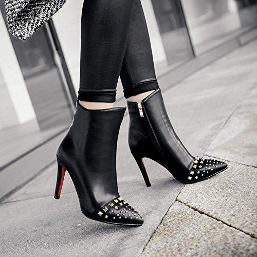 Carolbar Mujer's Pointed Toe Zip Tachonado Remache De Tacón Alto Vestido Corto Botas Negro
