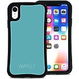 WAYLLY(ウェイリー) iPhone XR ケース アイフォンXRケース くっつくケース 着せ替え 耐衝撃 Qi対応 米軍MIL規格 [スモールロゴ ミントブルー] MK