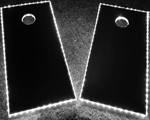 GlowCity Light Up LED Cornhole Boards Kit (2 Board Kit) Double The Illumination with Closer Spaced LEDs (White)