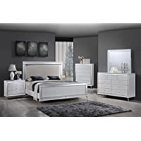Best Quality Furniture B9698CKSEt Metallic White Bedroom Set Mirrored Modern (4PC), California King