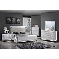 Best Quality Furniture B9698CKSEt Metallic White Bedroom Set Mirrored Modern (4PC), California King
