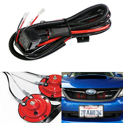 iJDMTOY (1) 12V Horn Wiring Harness Relay Kit For Car Truck Grille Mount Blast Tone Horns (Actual Horn Not Included) Auto Wiring Harnesses