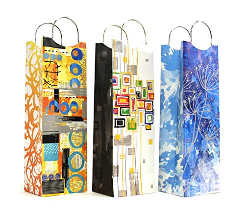 12 CT(1 Dozen), Wine Gift Bags, Art Print Wine Bag with 3 Designs Liquor or Beer Gift Bags, Single Bottle Tote Perfect for Weddings, Birthdays, Housewarming and Dinner Parties