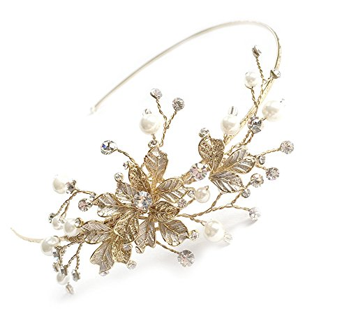 USABride Leaf Bridal Headband Leaves, Simulated Pearl Side Bridal Headpiece 3160-G