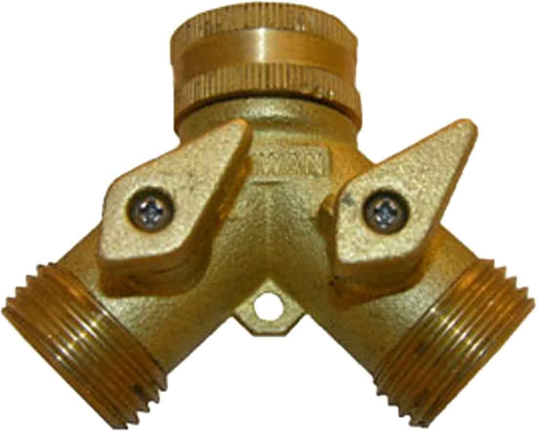 LASCO 15-4021 Garden Hose Wye, Brass, With Shut Off, Connect to Outside Faucet to Use Two Hoses
