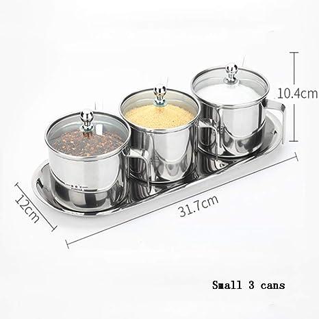 lqgpsx Caja Condimento Conjunto Condimento, Condimento Caja Conjunto Jarra 304 Acero Inoxidable Hogar Aceite Aceite Sal De Sal Cocina Condimento Almacenamiento De ...