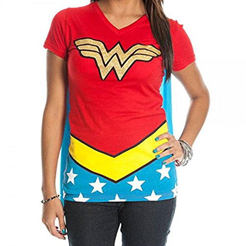 Wonder Woman Logo Caped T-Shirt - Wonder Woman Suit Up Women's Caped T-Shirt by Miracle -