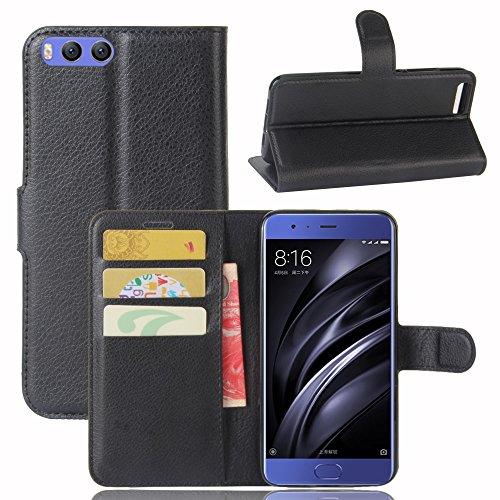 Lusee® PU Caso de cuero sintético Funda para Xiao Mi 6 Mi6 5.15 Pulgada Cubierta con funda de silicona marrón negro