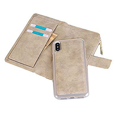 iPhone Wallet Case, Sammid PU Leather Protective Shell Detachable Folio Flip Carrying Case for iPhone