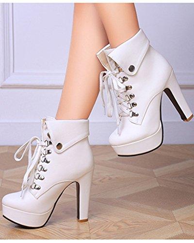 Moda Tacco Minetom Scarpe Alto Boots Bianco Stringate Martin Stivali Donna Inverno Stivaletti Col Stiletto Tacco Autunno q6wW1rqCTp