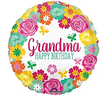 Image Unavailable Not Available For Color Amscan International 3556701 Happy Birthday Grandma Floral Foil Balloon