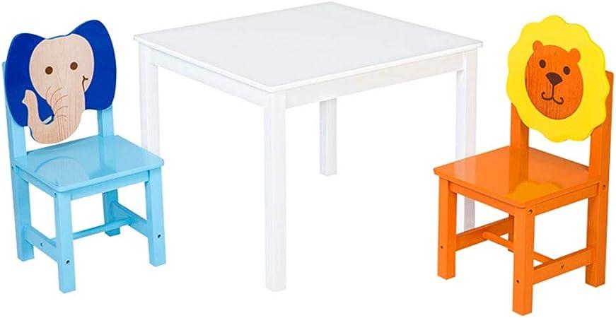 juego de mesa y silla de jardín de Infantes de Madera Maciza, Mesa de Juegos para niños/Mesa de Estudio, Silla con diseño de Animales: Amazon.es: Hogar