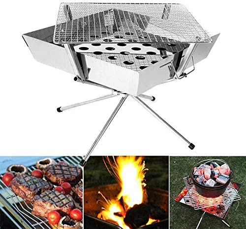 Lcxligang Acier en Plein air Barbecue Camping Ménage Inoxydable Pliant Barbecue au Charbon Barbecue Poêle feu Rack