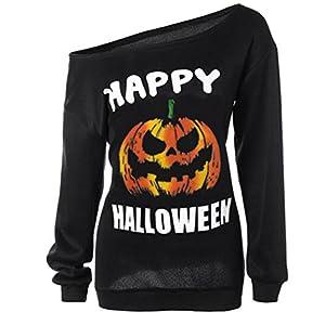 RJXDLT Women's Halloween Shirt Slouchy Sweatshirt Off Shoulder Pumpkin Pullover Top