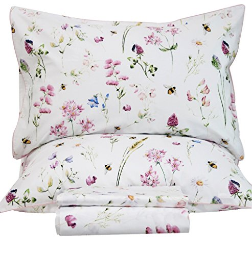 - Queen's House Bed Sets Egyptian Cotton Floral Bedding Sheets Set-King,E