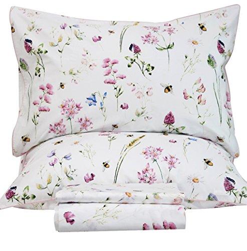 Queen's House Bedding Egyptian Cotton Floral Sheets Queen Size Set-E