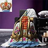 Anniutwo King Couch Blanket Royal Family Nobility Crown with Colorful Ornaments Image