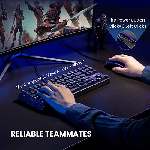 PICTEK Mechanical Gaming Keyboard and Mouse Combo Wired RGB Chroma Backlit Gaming Mouse, 8 Programmable Buttons, 7200 DPI Adjustable for Windows PC Gamers (Tenkeyless Keyboard Mouse Set)