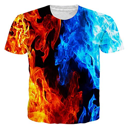 RAISEVERN Unisex Short Sleeve Burning Flame & Ice 3D Printed Cool Crew Neck Black T-Shirt Funny Tees (Best Clothes For Burning Man)