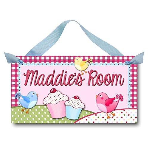 (Toad and Lily Cupcake Birdies Girls Bedroom Baby Nursery Kids Bedroom DOOR SIGN Wall Art DS0185)
