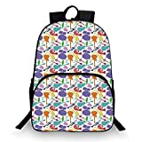 Music Various Schoolbag,Colorful Instruments Bass Guitar Rock Microphone Trumpet Saxophone Jazz Party Theme for student,11'Lx6'Wx15'H