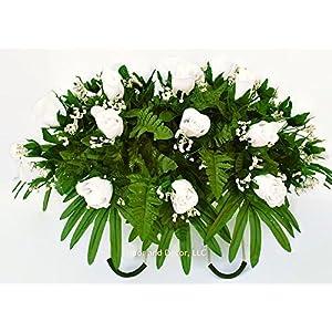 White rose cemetery saddle~Cemetery Arrangement~Graveside Decorations~Headstone Saddle~Saddle Arrangement~Sympathy Flowers~Grave decor~Cemetery Flower Service Subscription~cemetery saddle 3