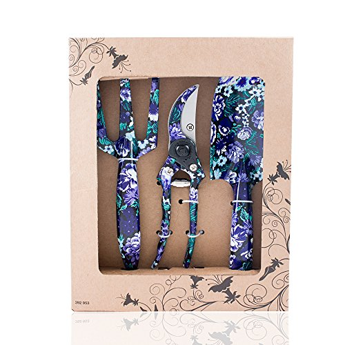 (FLORA GUARD 3 Piece Aluminum Garden Tool Set with Purple Print - Trowel, Cultivator, Pruning Shear, Gift Set for Gardening Needs (Purple))