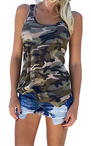 (YJWAN Womens Camouflage Casual T Shirt Camo Sleeveless Tanks Top Vest and Short (XXL, Vest) )