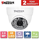 TMEZON 2.0MP HD-TVI 1080P Outdoor Turbo High Resolution Dome Camera 3.6mm Fixed Lens 1080P 48IR, Work With HD-TVI (1920×1080)