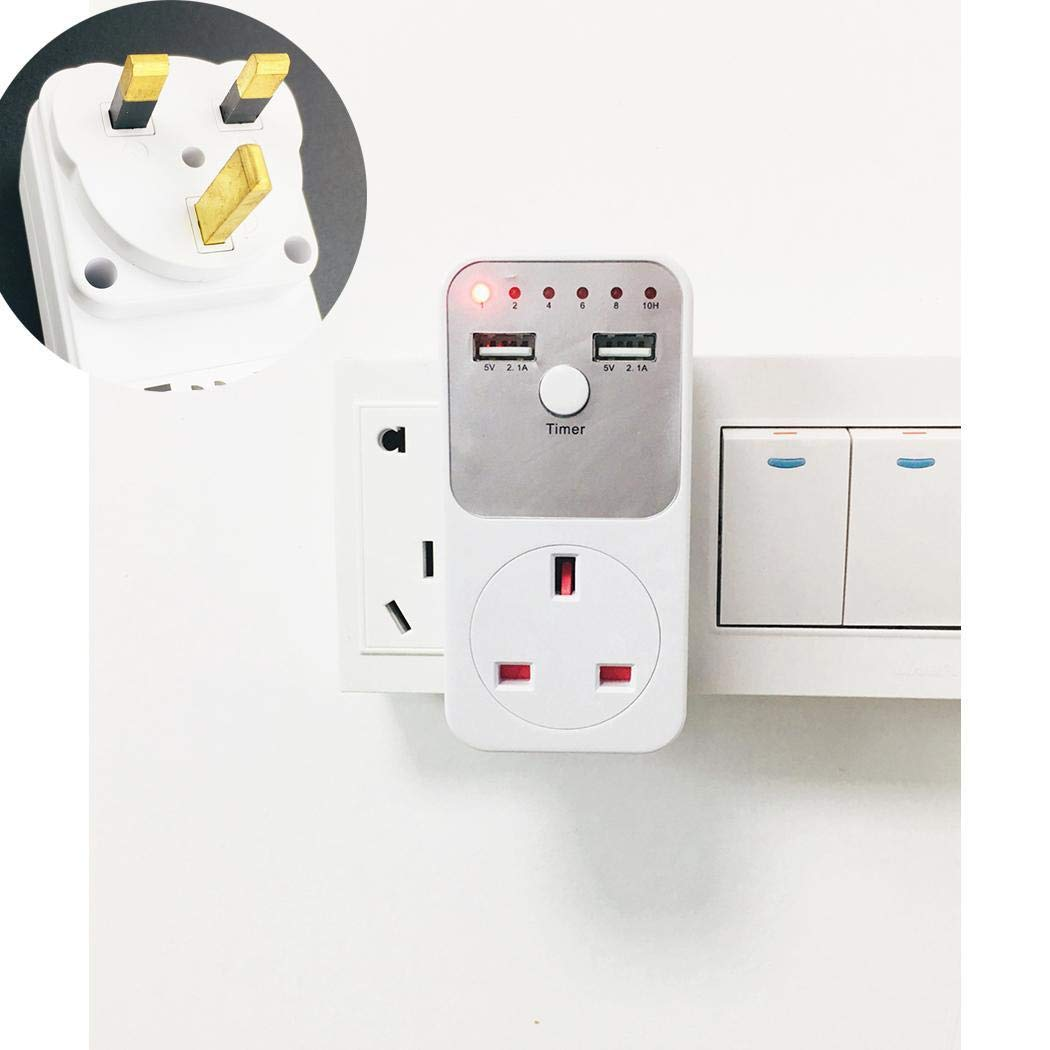 Xixini Countdown Timer Socket Indoor Countdown 2.1A Dual USB Phone Charger Safety Outlet Suitable For All Kinds of Household Appliances
