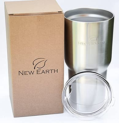New Earth 30oz Stainless Steel Tumbler with Lid, Eco-Friendly, Double Walled Vacuum Insulated, Ideal for both COLD (Smoothie, Soda, Water) & HOT (Coffee, Tea) Food Safe & BPA FREE