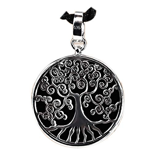 GAOQQ Vintage Thai Silver Black Chalcedony Life Tree Round Pendant Wearable for Men and - Gemstones Chalcedony Round