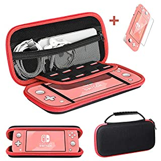 Ztotop Case and Tempered Glass Screen Protector for Nintendo Switch Lite 2019, Portable Travel Carrying Case Slim Protective Hard Shell Storage for Nintendo Switch Lite Games/Accessories, Red