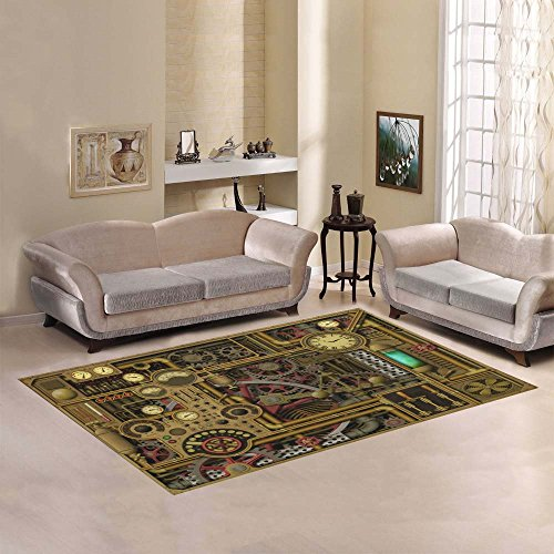 Abstract Steampunk Clockwork Area Rug 7' x 5'