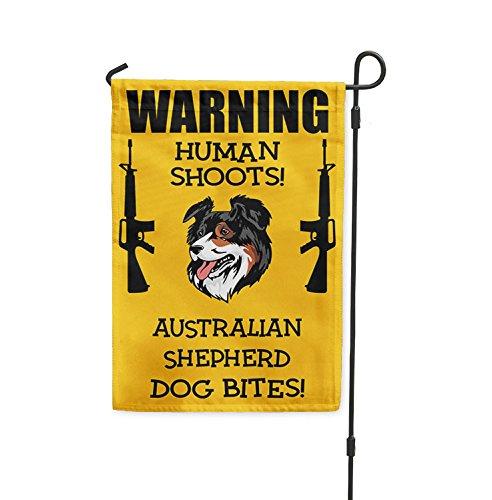 Human Shoots AUSTRALIAN SHEPHERD DOG Bites Yard Patio House Banner Garden Flag Flag Only 8